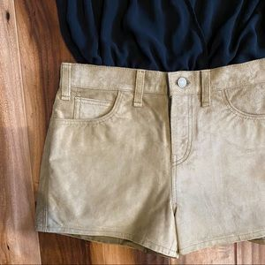 Tan Suede leather hot pants shorts Levi's 28 6/7